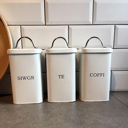 Enamel Tea Coffee Sugar Canisters White