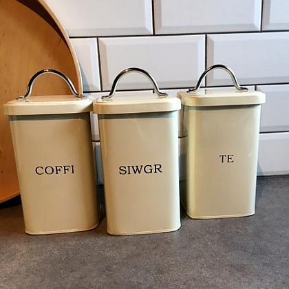 Enamel Tea Coffee Sugar Canisters Cream
