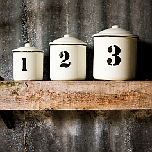 Set of 3 Enamel Canisters