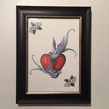 Heart and birds framed