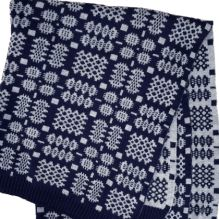 Tapestry Blanket ~ Navy/Grey