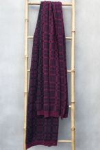 Tapestry Blanket Shawl ~ Damson/Coal