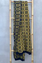 Tapestry Blanket Shawl ~ Ochre/Navy