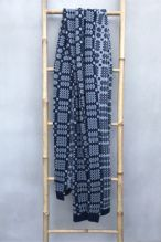 Tapestry Blanket Shawl ~ Navy/Grey