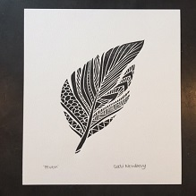 Lino print of Black Feather