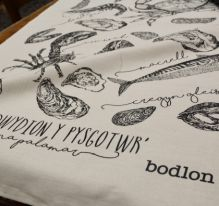 'Breuddwydion y Pysgotwr' ~ Fisherman's Dreams Tea Towel