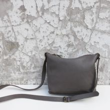 Taupe Grey Leather Handbag