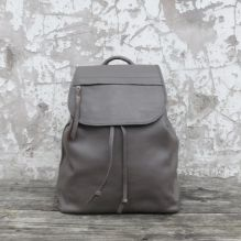 Taupe Grey Leather Rucksack