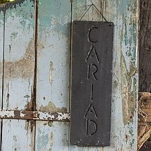 Slate Cariad Hanging Sign