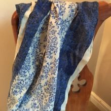 Wool & Silk Scarf ~ Cobalt Blue/Grey