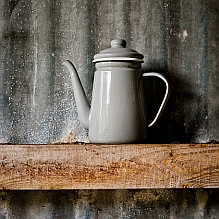 Enamel Coffee Pot ~ Grey