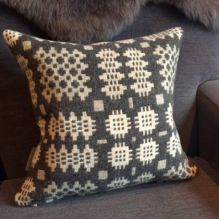 Bodlon Welsh Blanket Cushion ~ Greys