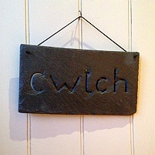 Slate Cwtch Hanging Sign ~ Small