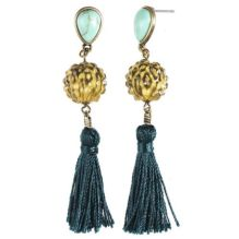Gold/Blue Tassel Earrings