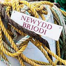 Welsh 'Just married' Sign ~ Red
