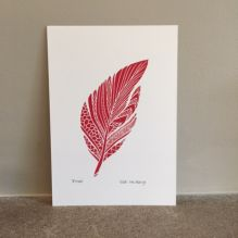 Lino print of Red Feather