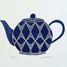 Lino print of Blue Teapot